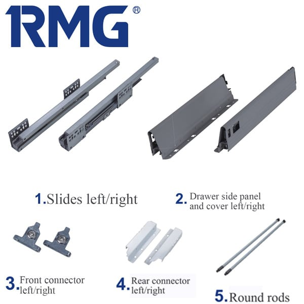 160mm metal box drawer runners RL02(1)