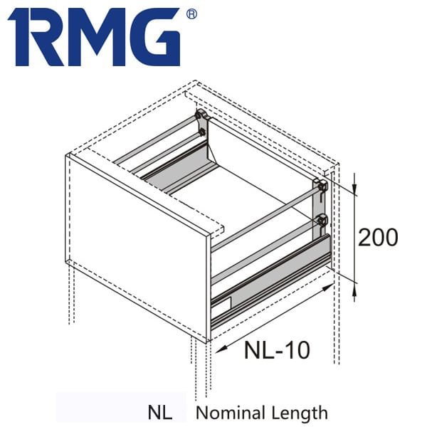 200mm metal box best drawer slides RL032