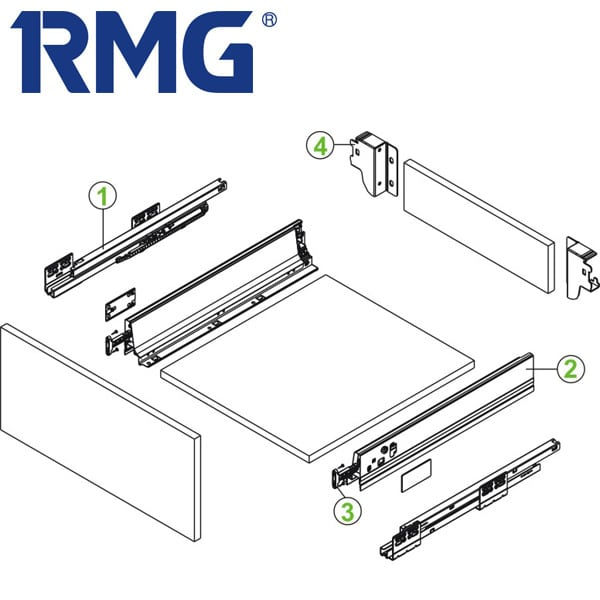 Cabinet double wall drawer slides RL112
