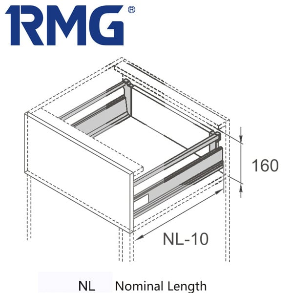 Square double wall drawer system with slow close drawer slides RL122