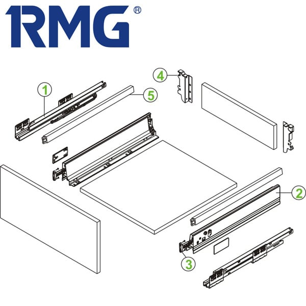 Square double wall drawer system with slow close drawer slides RL123