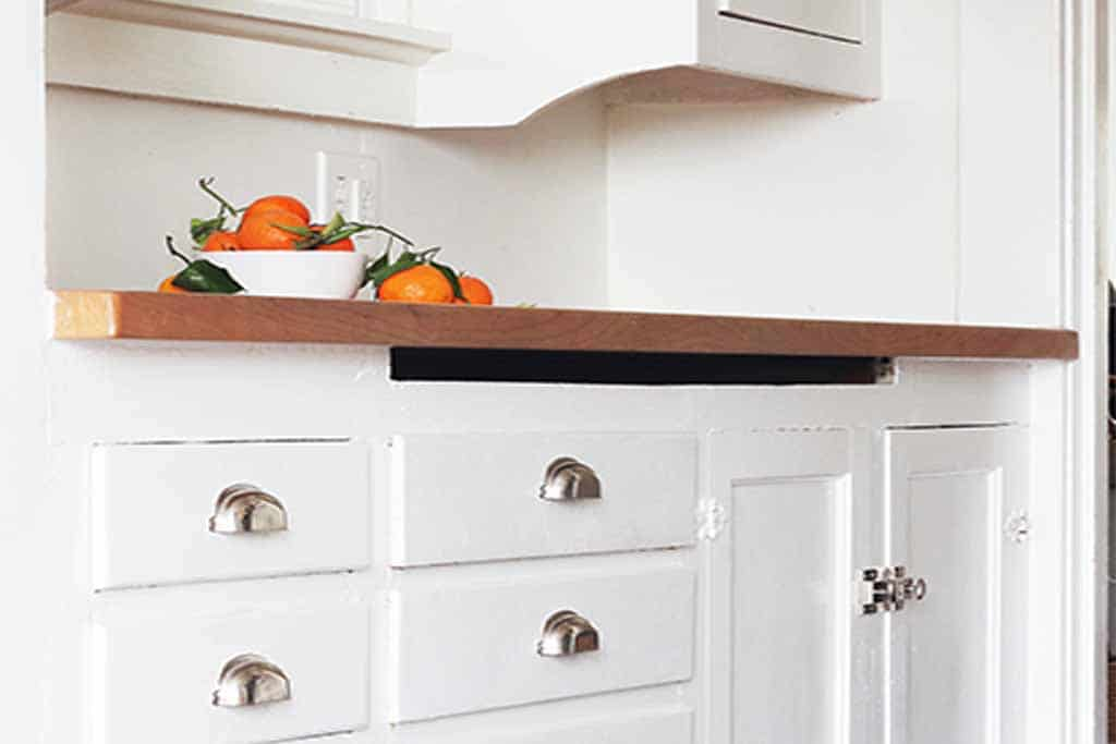 white wooden cabinets